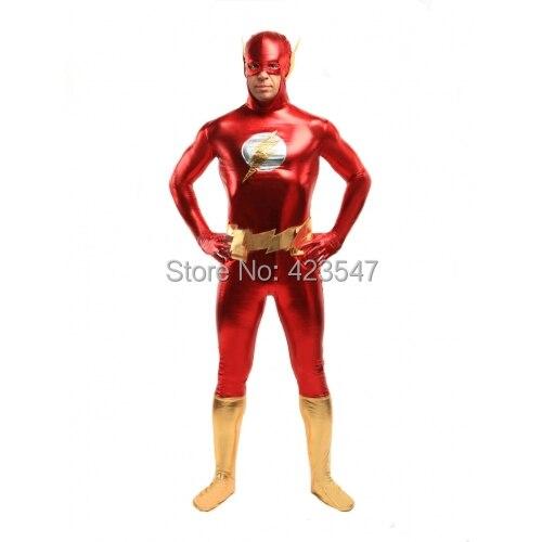 Red Gold The Flash Super Hero Costume fullbody high elasticity The Flash metallic costume