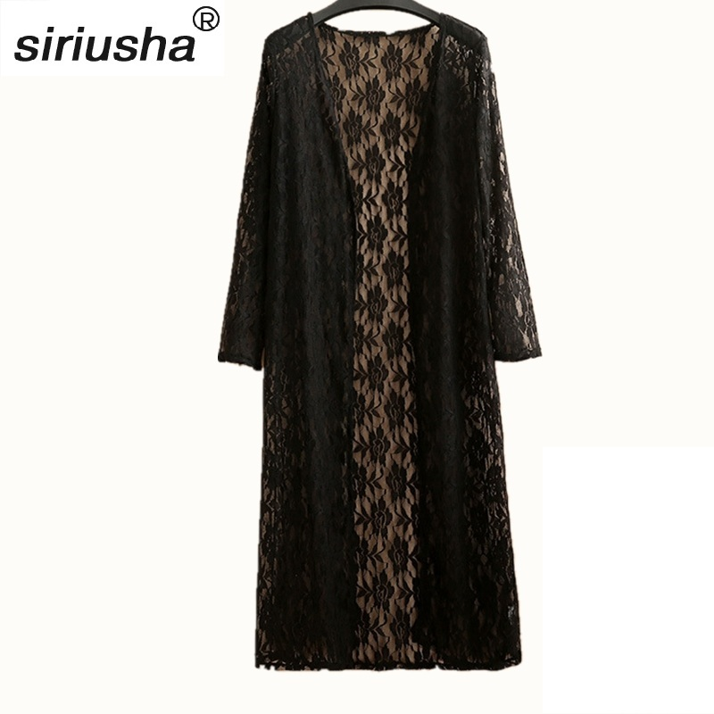 97c7b42e7c Summer & Autumn Lace Openwork Shawl Long Solid Color Sunscreen Clothing  Large Cardigan Thin Section Loose