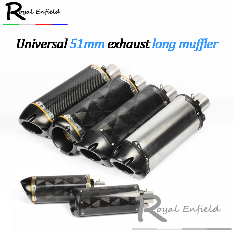 Modified motorcycle exhaust pipe CNC aluminium alloy carbon fiber CBR R1 R6 ESCAPE 51mm exhaust long muffler for two brother 51mm universal modified motorcycle exhaust pipe carbon fiber muffler cnc cap for yamaha r1 r6 xmax 300 z900 z1000 cbr600 1000