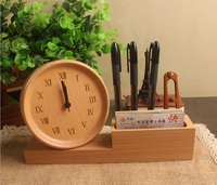 Top Quality business gifts wood multi function alarm clock furnishing articles pen container business card holder mobile rack