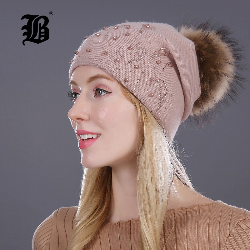 FLB Winter Fur Knitted Female Beanies Hats For Women Cap