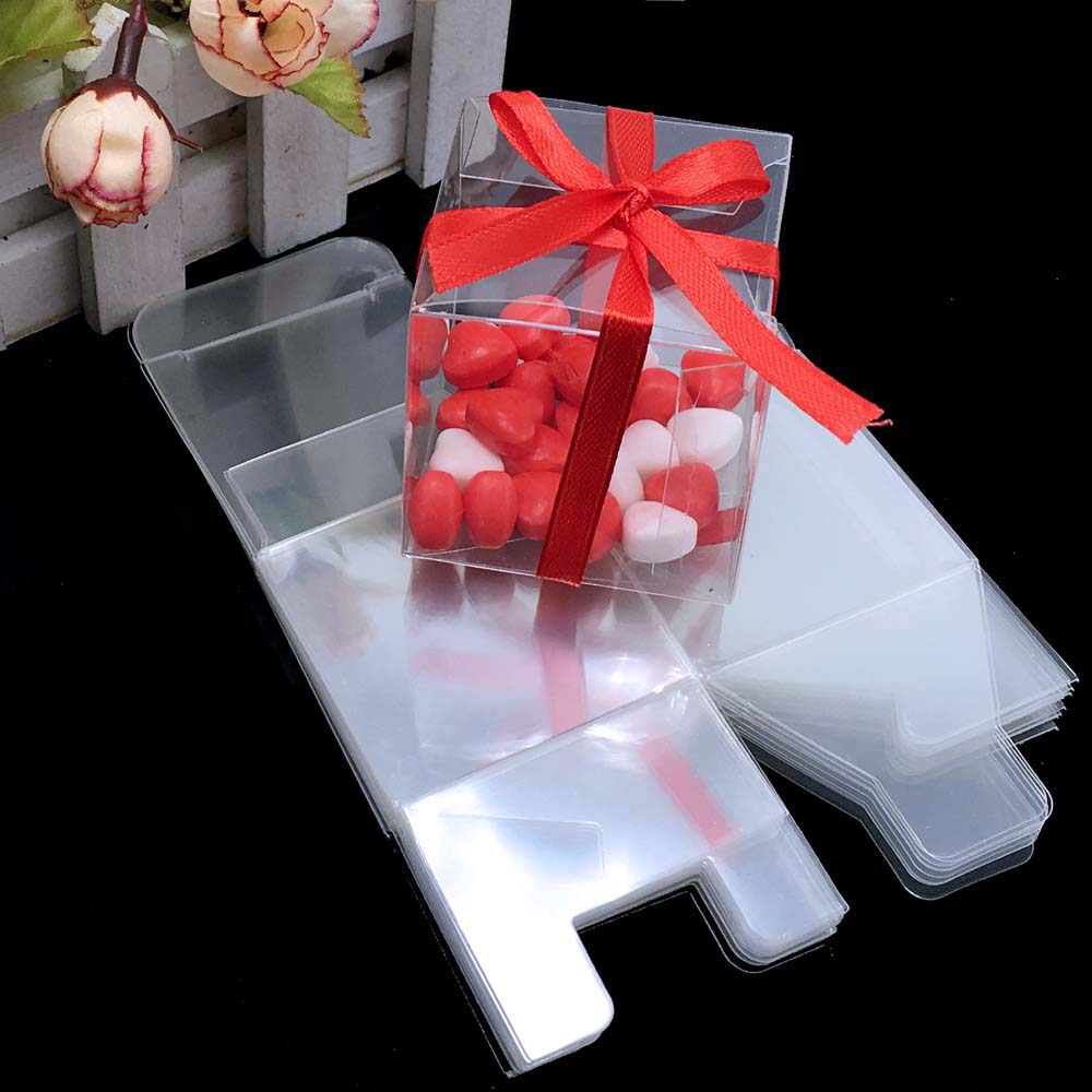 25 Pieces Square PVC Birthday Gift Box Transparent Wedding Favor ...