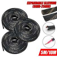 1PC 5M/10M Black Braided Cable Sleeving PET Nylon Wrapping Cable Casing Cable Sleeves Wire 8mm/10mm/12mm/15mm/20mm/25mm