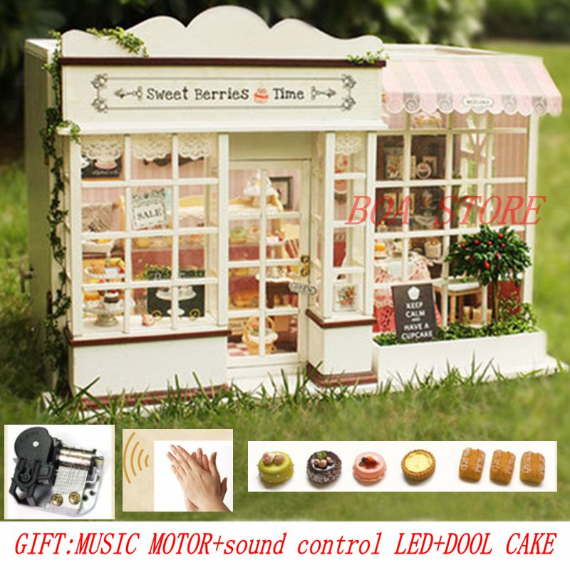 Doll House Miniature Diy Puzzle Model Wooden Large Size CASA DE BONECA Building Dollhouse Toys Birthday Gifts SWEET BERRY TIME doll house furniture diy building model wooden miniature dollhouse puzzle toys for children birthday christmas gifts happy coast