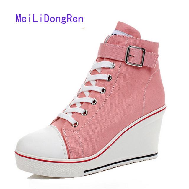 9111e3492efde High Top Wedge Sneakers 2017 Fashion Women High Heel Sneakers Platform High  Heeled Canvas Shoes 4 Colors zapatos mujer