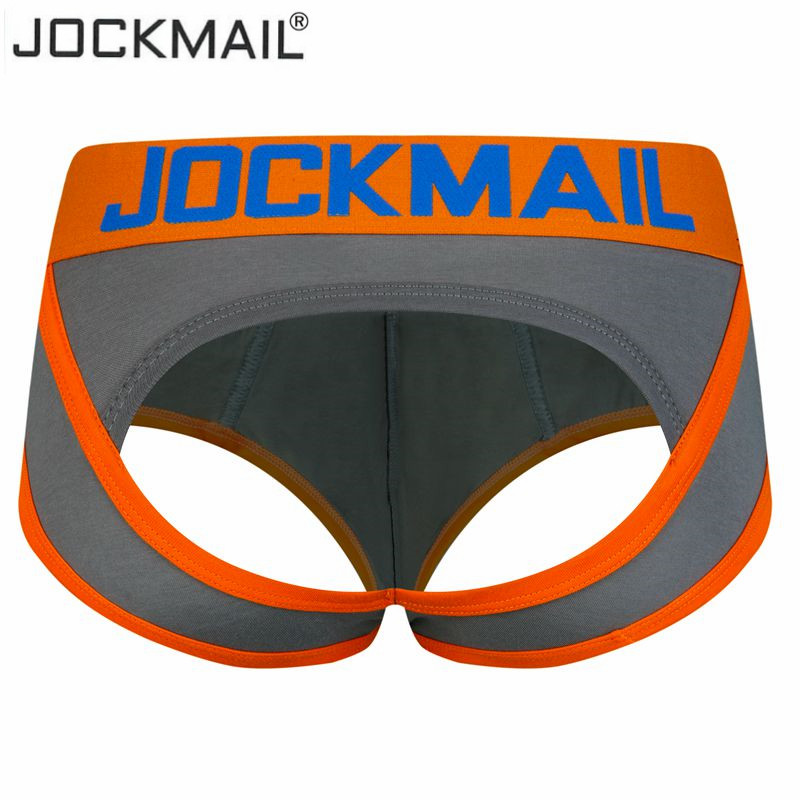 JOCKMAIL Sexy Men Underwear BOTTOMLESS Briefs Men Thong G-strings Tanga Short Underpants Gay Male Underwear Open Backless Crotch