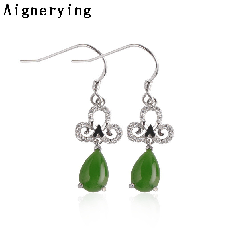Vintage Supply Real 925 sterling Silver Earings Natural Hetian Green Jade Plum blossom Cool Cute For Women Gift tray with Box