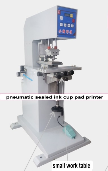 Pneumatic Sealed Ink Cup Pad Printer Pad Printing Machine 1 color +1 cliche plate(with logo) + 2 rubber pads Combo baterady pneumatic electric pad printing machine spare part ink cup tungsten steel ring odxidxh mm