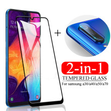 2-in-1 Camera Lens Glass For samsung a30 a40 a50 a70 tempered glass on the For galaxy a 30 50 screen protector protective glas(China)