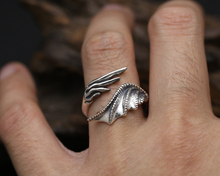 Men's  Antique 925 Sterling Silver Dragon Shaped Ring