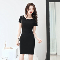 Sexy Women Black Short Sleeve Dress Temperament Cheongsam Elegant O Neck Mini Gowns Party Slim Dresses Prom Formal Gown Qipao