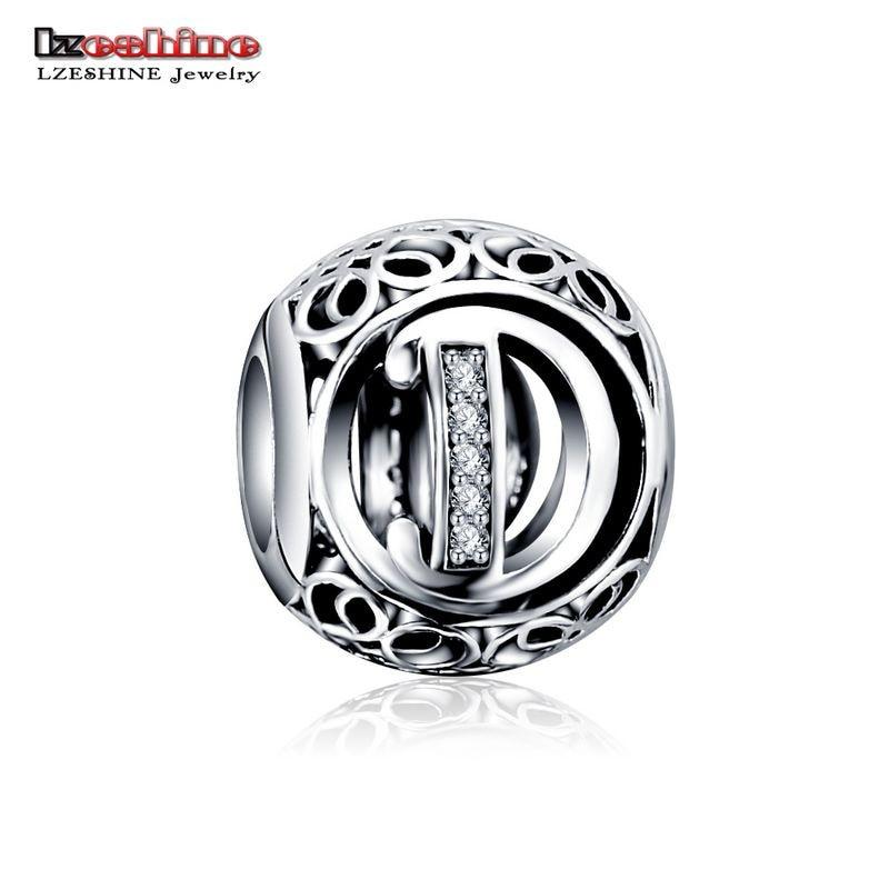 LZESHINE 100% Authentic Sterling Silver 925 Crystal Alphabet Letter A-Z Bead Charm Fit Original Pandora Charm Bracelet PSMB0634 5