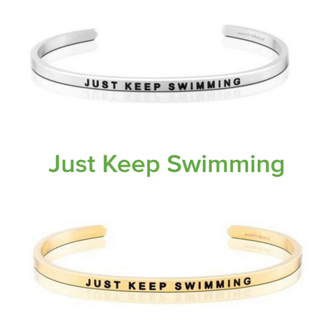 Elegant Stainless Steel Engraved Just Keep Swimming Inspirational Quote Hand Stamped Cuff Bracelet Bangle For 2018