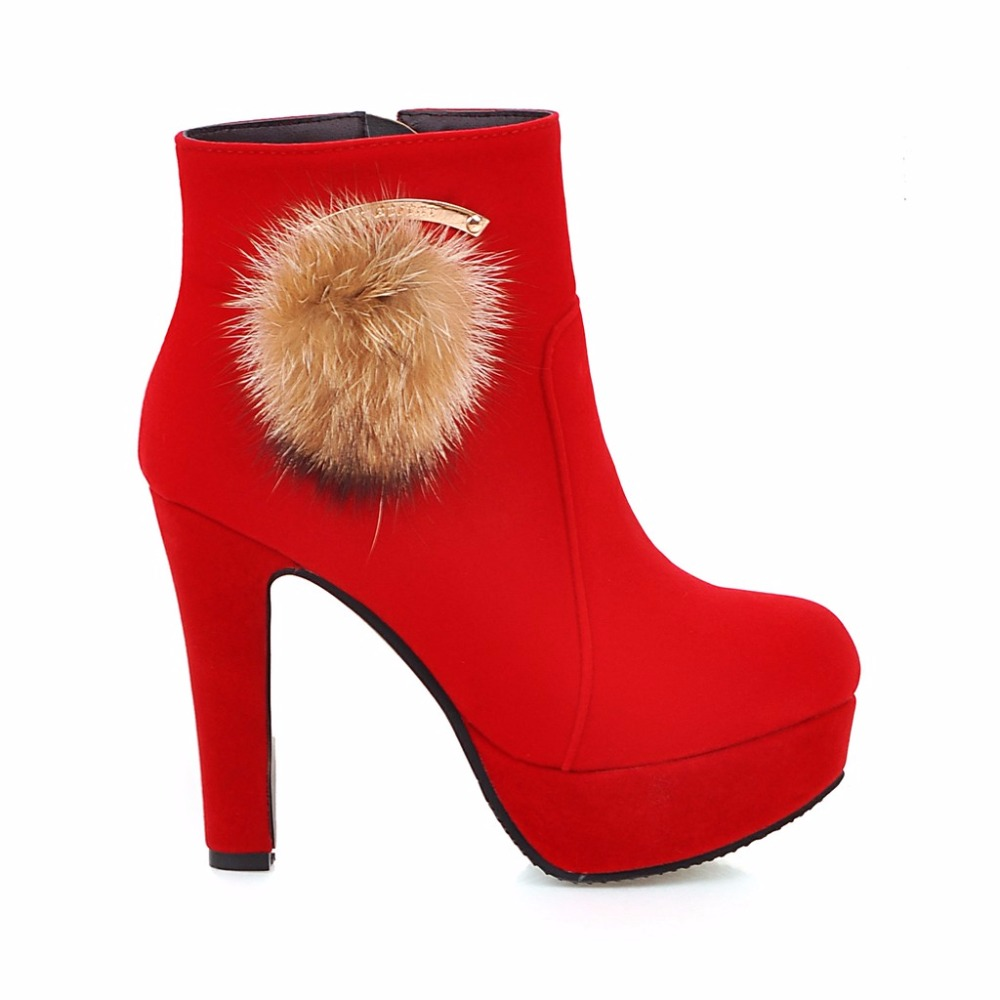 Brand New Sale 4 type Sexy Black Red Women Platform Ankle Fur Boots Vogue Lady Nude Dress Shoes High Heel EH9S Plus Big size 43 famous brand new black women s size xs pleated surplice sheath dress $90
