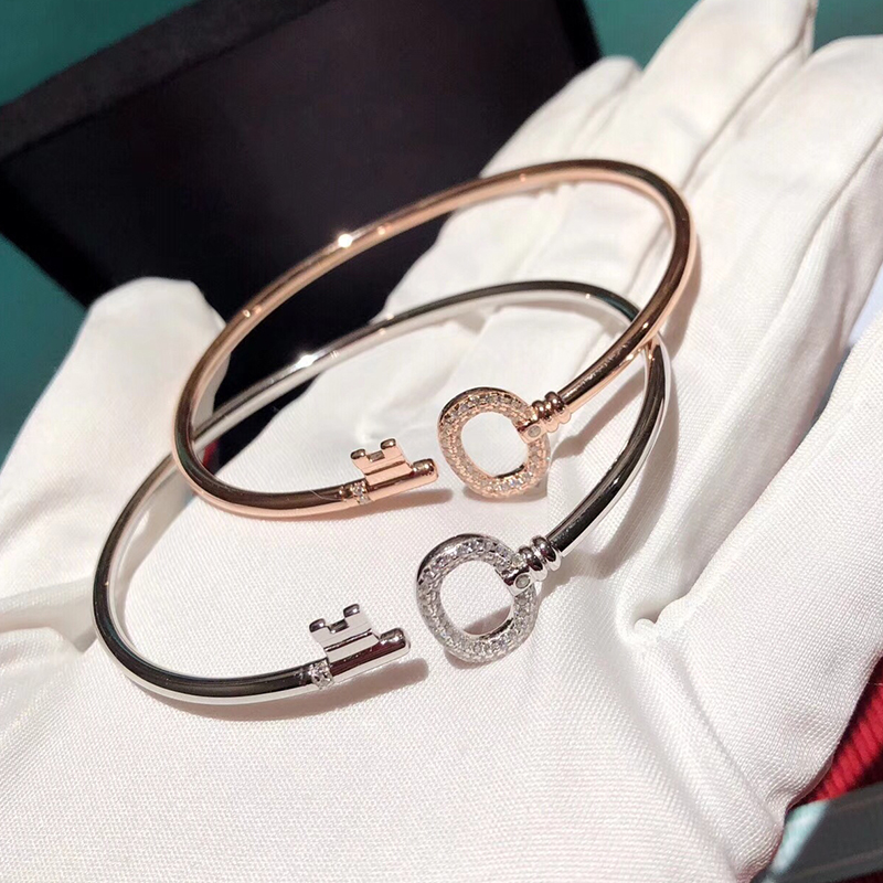 Brand New Key Pure 925 Sterling Silver Jewelry For Women Unisex Jewelry Silver Key Cuff Bangle Gold Color Bracelet Top Quality simple geometric ripple hollow out pure color cuff bracelet for women