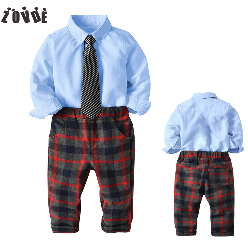 2018 Children Boys Clothing sets Shirt+Pants+Ties 3pcs set Gentleman Kids Boy Party Clothes Suits Long Sleeve Baby Boys Clothes