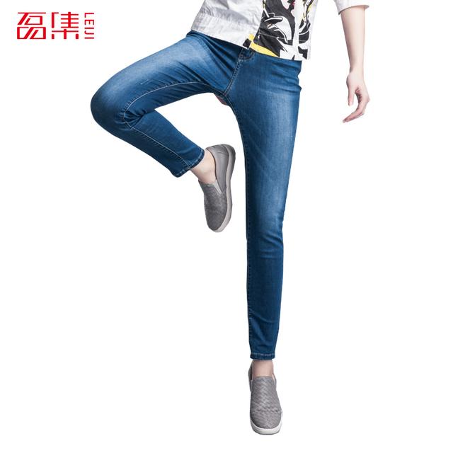Leiji Moda S 6XL 2016 Outono Estilo Plus Size Elástico Das Mulheres luz Lavado Mulher Meados de Cintura Jeans Skinny Femme Denim Calças Lápis