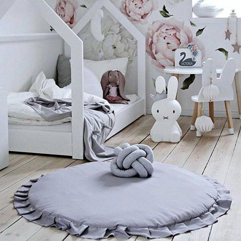 Myudi-Baby Blanket Round Kids Play Mat Cobertor Girls Boys Game Carpet Rug Floor Mats Toddler Room Decoration Photography Props sand shell starfish pattern floor area rug