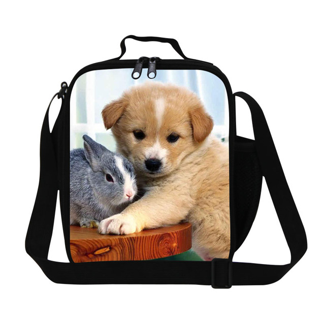 Cute Animal Insulated Lunch Bag For Kids Puppy Pet Womens Small Lunch Box  3D Dog Print Picnic Thermal Food Bag Children Lunchbag