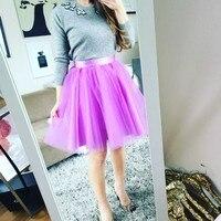Hot Pink Womens Skirts Ribbon Waistline Tutu Skirt Knee Length A Line Tulle Trendy Skirts Lovely Girl 2018New Arrival Real Photo