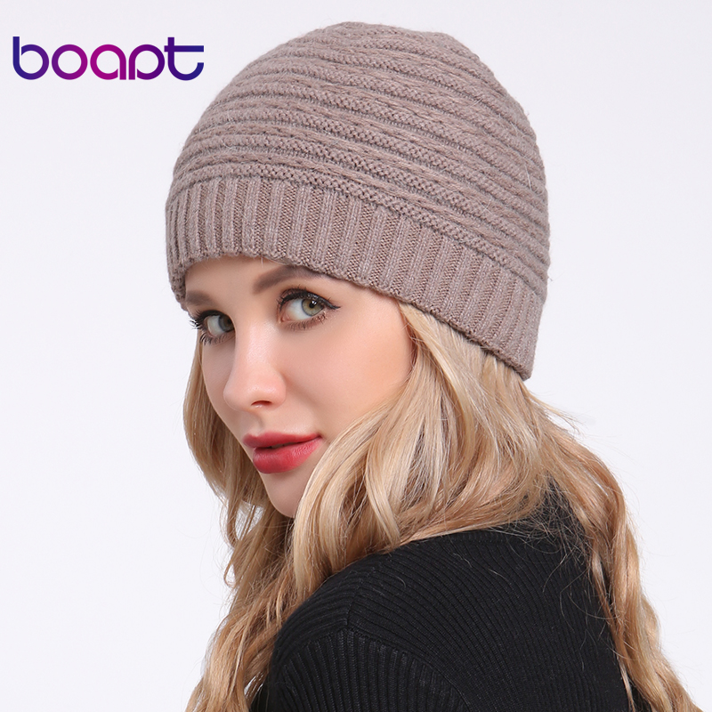 [boapt] Angora Rabbit Soft Double Layer Knitted Thick Bonnet Girls Winter Hats For Women's Caps Lady Skullies Beanies Female Hat