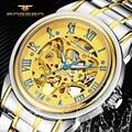 FNGEEN Ouro Esqueleto Mecânico Automático do Relógio Dos Homens Clássicos Retro Cinta de Aço Inoxidável Negócios Relógios de Pulso Relogio masculino