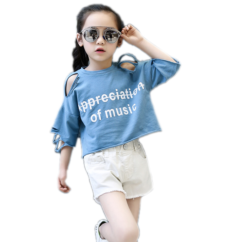kids clothes girls new girls summer short sleeve sets top solid letter printed hole t shirt+denim shorts 2pcs children clothing 2017 new style fashion mom and girls short sleeve letter t shirt dot black skirt set summer kids casual clothes parenting 17f222