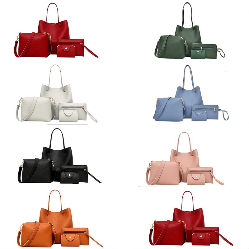 2018 Hot New 4Pcs Set Fashion Light High Quality Women Lady Women Pattern Leather Shoulder Bag+Crossbody Bag+Handbag+Wallet био кофе auchan 250г