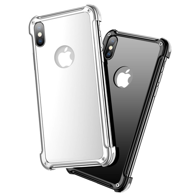 online retailer 04e19 b562a US $16.99 |OATSBASF Original Tempered Glass Metal Airbag Shell Case for  IPhone X Case Personality Shell Metal Bumper for IPhone X Cover-in Phone ...