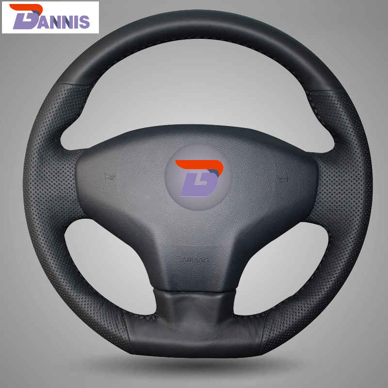 BANNIS Black Artificial Leather DIY Hand-stitched Steering Wheel Cover for Citroen Elysee C-Elysee 2014 New Elysee