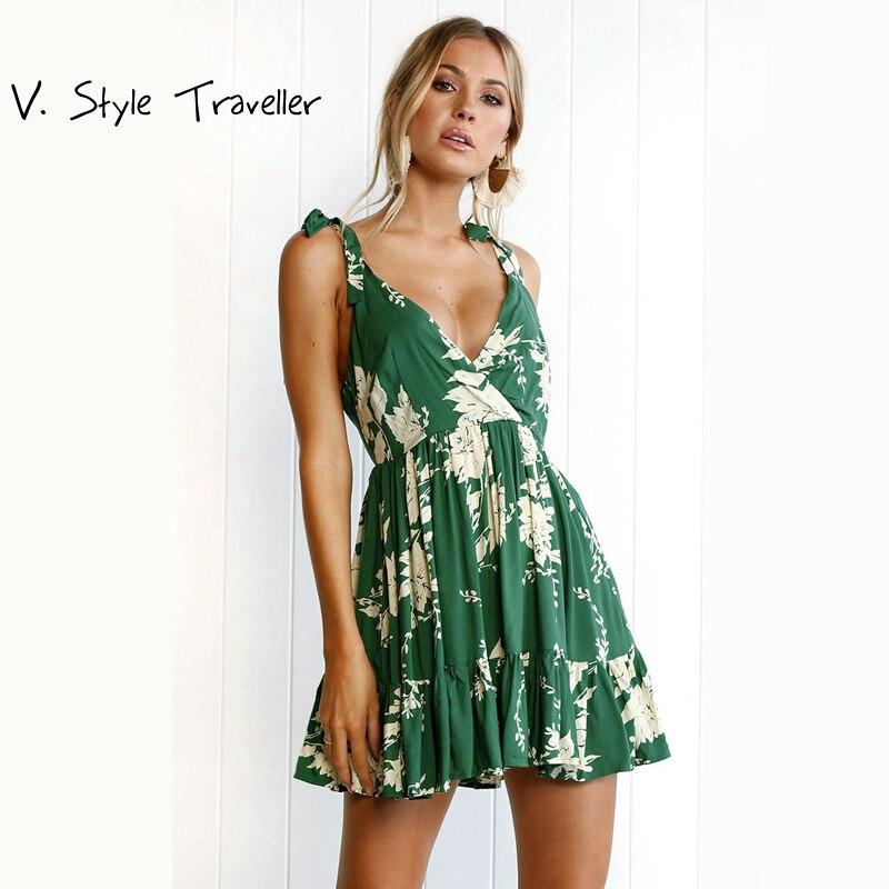 Green Floral Print font b Camis b font Dress font b Women b font Casual V