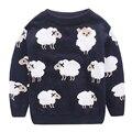 2016 Niños de Los Suéteres Precioso cordero patrón Suéter del Invierno Del Bebé Niños Niñas Ropa Suéter Caliente de Manga Larga Camiseta de Los Niños de invierno