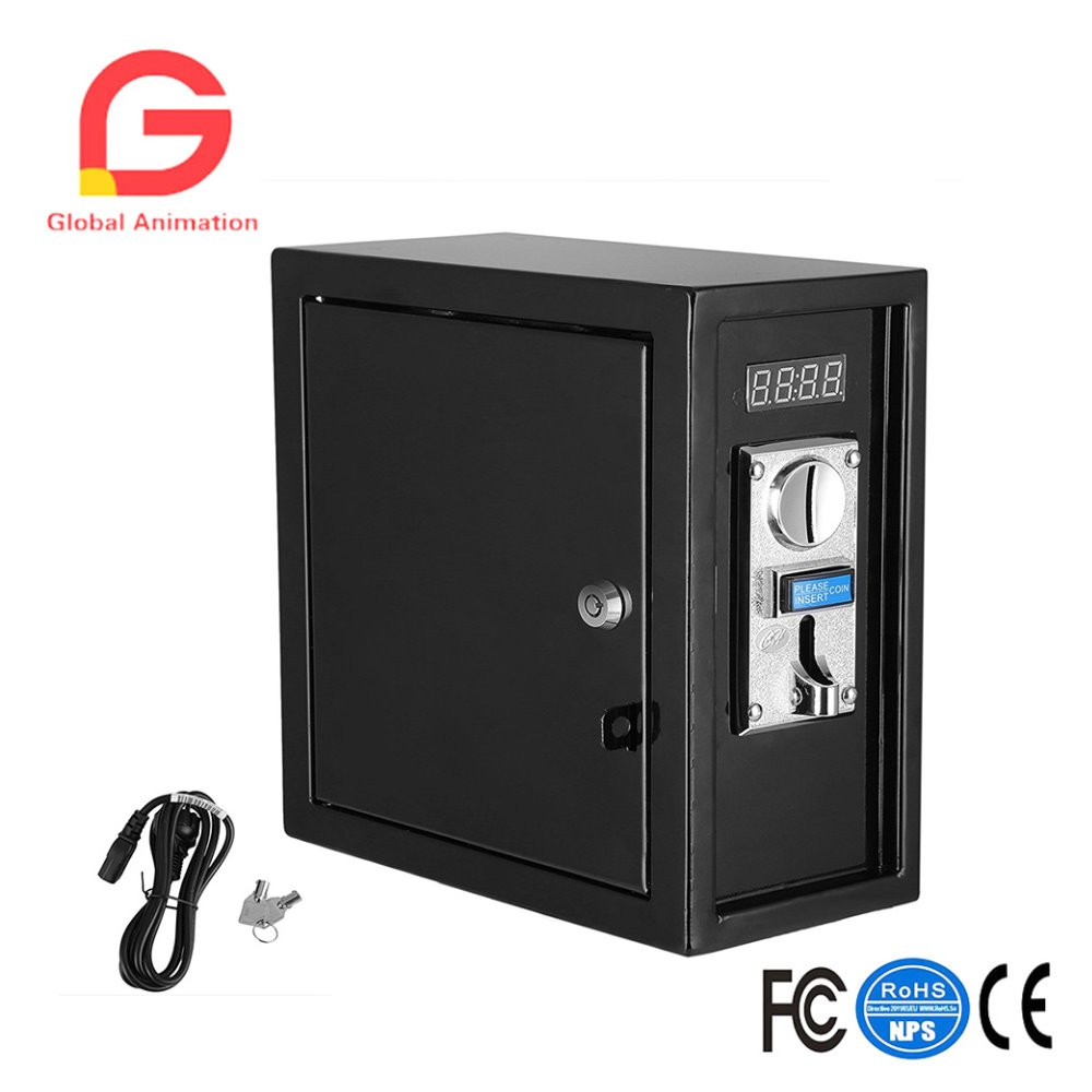 Coin Operated Timer Control Box Multi Coin Acceptor Power Supply with Push Button