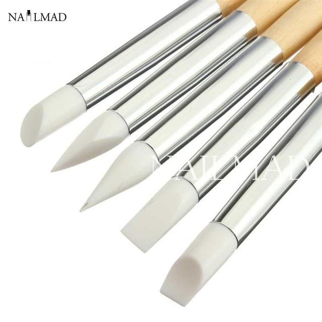 5Pcs Silicone Carving Pen Nail Art Silicone Engraving Pen Nail Art Brush Nail Tools