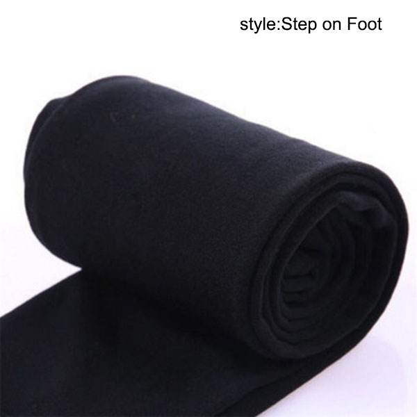 Осень зима горячая распродажа Новые горячие женские теплые флисовые зимние эластичные Леггинсы теплые флисовые облегающие теплые брюки MSK66 - Цвет: Black Step on Foot