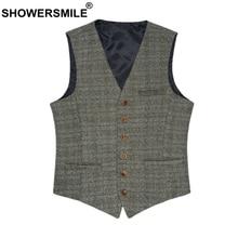 SHOWERSMILE Male Suit Vest British Waistcoat Vintage Tweed Spring Autumn Plus Size Men Woolen Brand 3XL Sleeveless Jacket