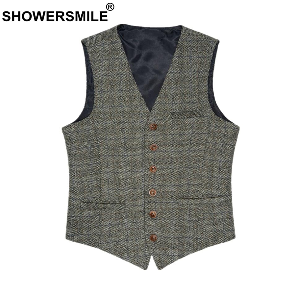 Showersourire homme costume gilet britannique gilet Vintage Tweed gilet printemps automne grande taille hommes laine marque 3XL sans manches veste