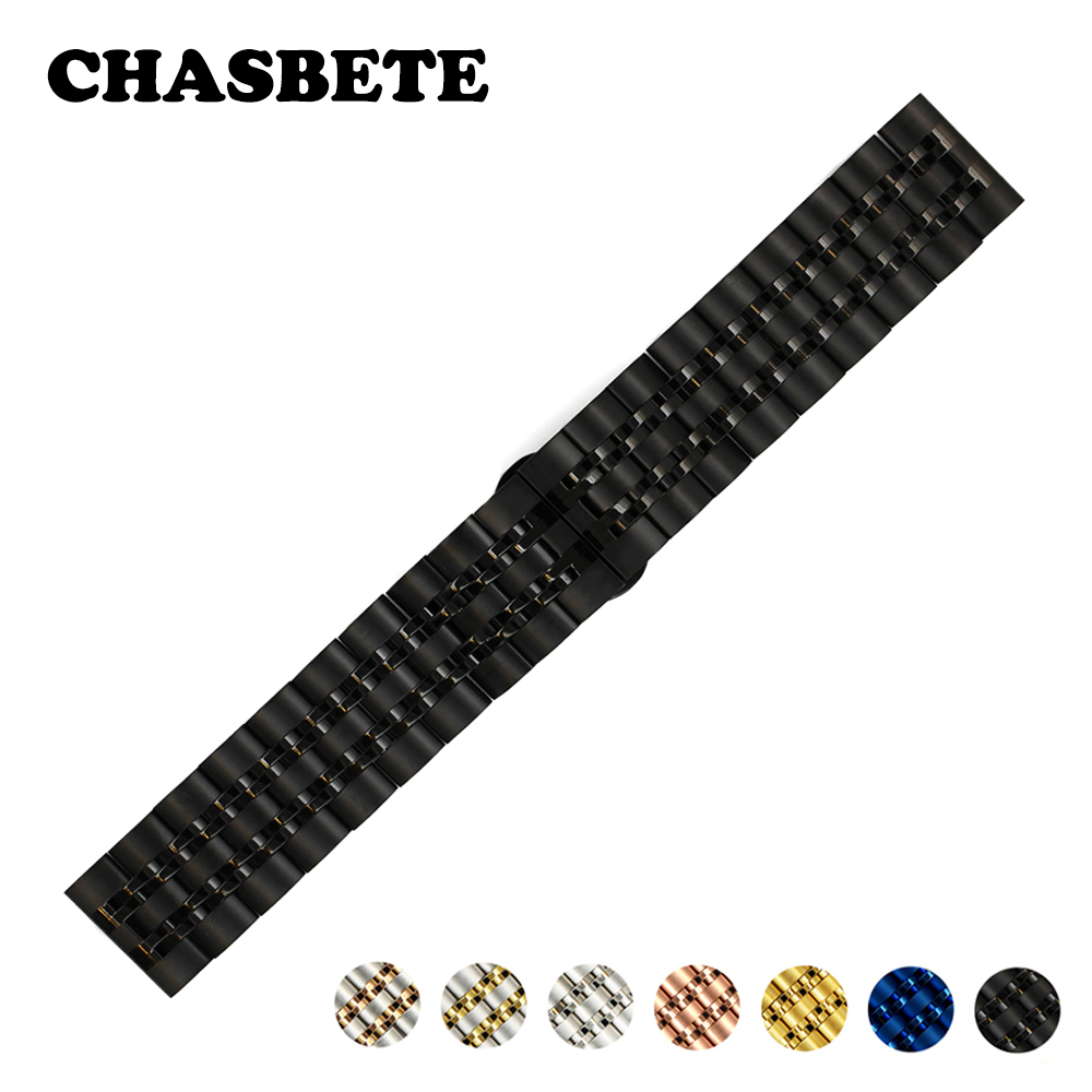 22mm Stainless Steel Watch Band for Samsung Gear S3 Classic / Frontier Metal Strap Wrist Loop Belt Bracelet Black Silver Blue 22mm nylon watch band for samsung gear s3 classic frontier zulu fabric strap wrist belt bracelet black gray blue brown green