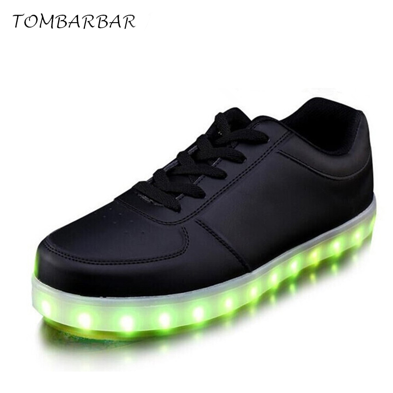 TOMBARBAR Women Colorful Glowing Shoes with Lights up Led Luminous Shoes a New Simulation Sole Led Adults Shoes TL-2016031501 size 36 43 led shoes glowing 7 colors led women fashion luminous led light up shoes for adults