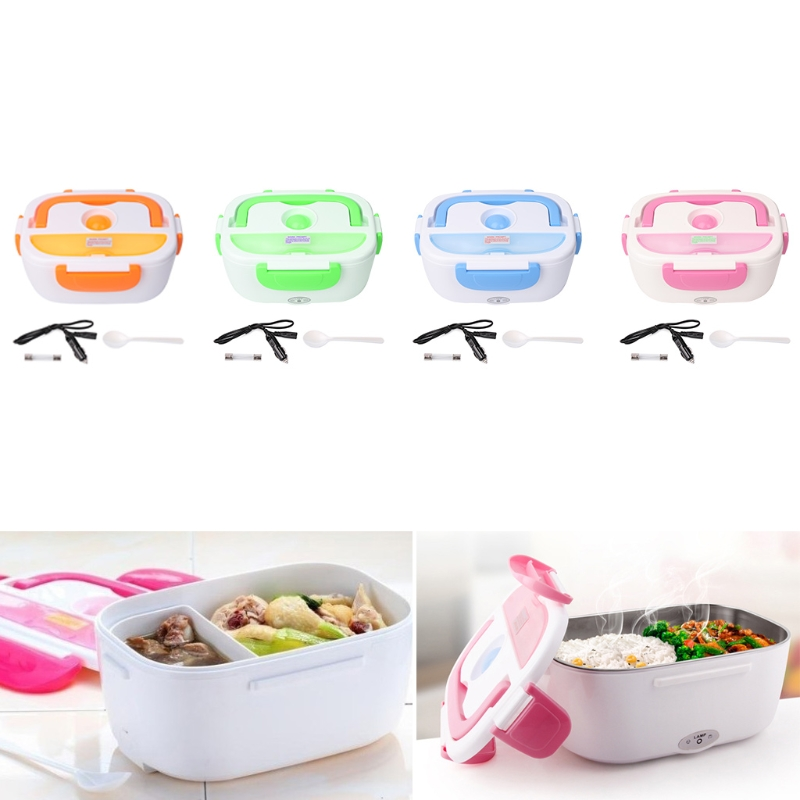 Portable 12V Car Electric Heating Lunch Box Rice Cooker Food Warmer 1.05L 40W bear portable electric heating lunch box ceramic inner container rice cooker double layer can insert healthy food warmer