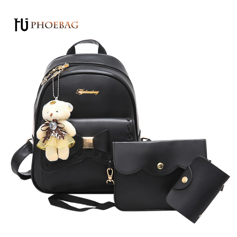 HJPHOEBAG Women backpack 3 Piece set PU leather lady laptop backpacks fashion girl travel package feminine