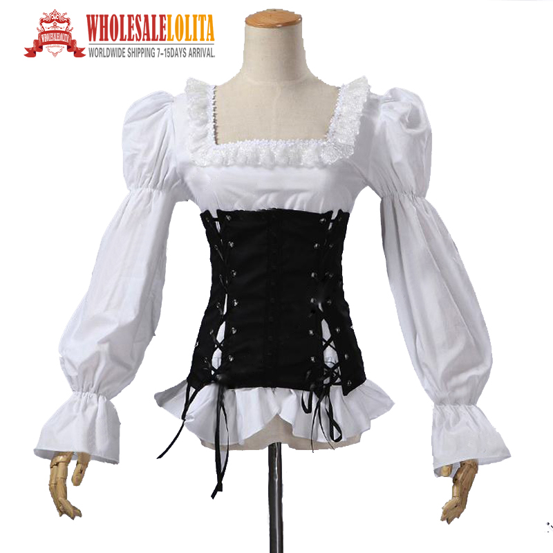 Renaissance Medival Pirate Wench Vixen Steampunk Blouse Women