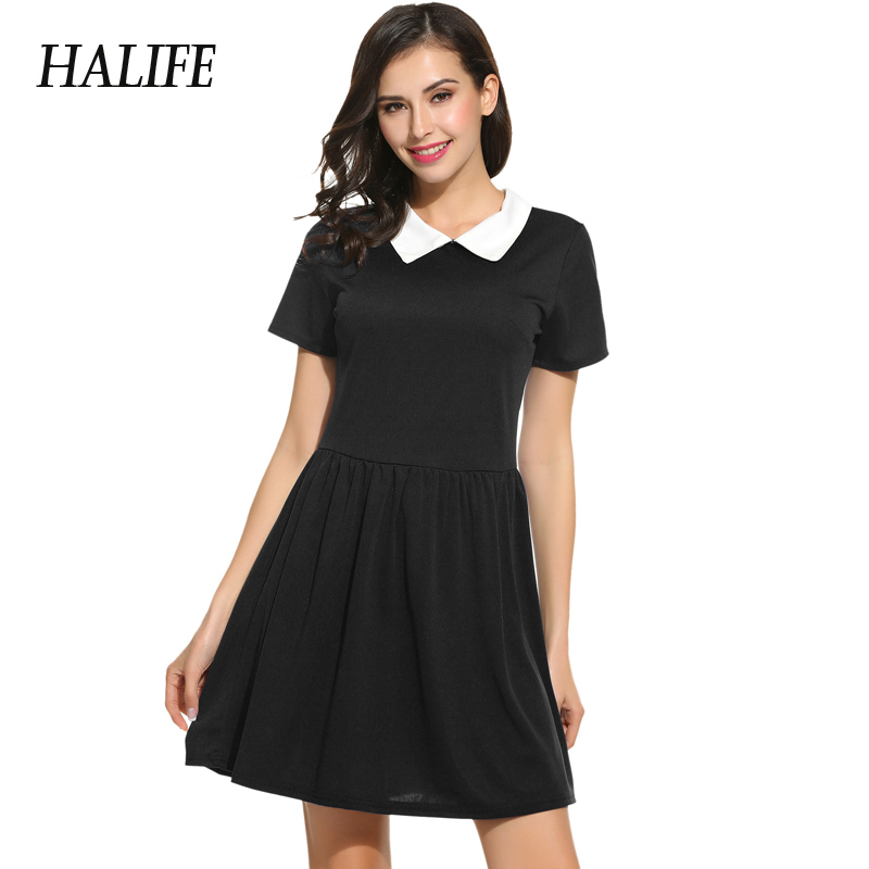 Black Dress With White Collar Short Sleeve Summer Dress School Preppy Women Peter Pan Collar Skater Vestidos Mini Sundress S10