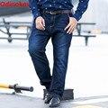 Odinokov Marca 2017 Novos Homens Grandes E Altos Alta Estiramento Plus Size 28-48 Calça Jeans Denim Calças de Negócios Relaxe calça Azul