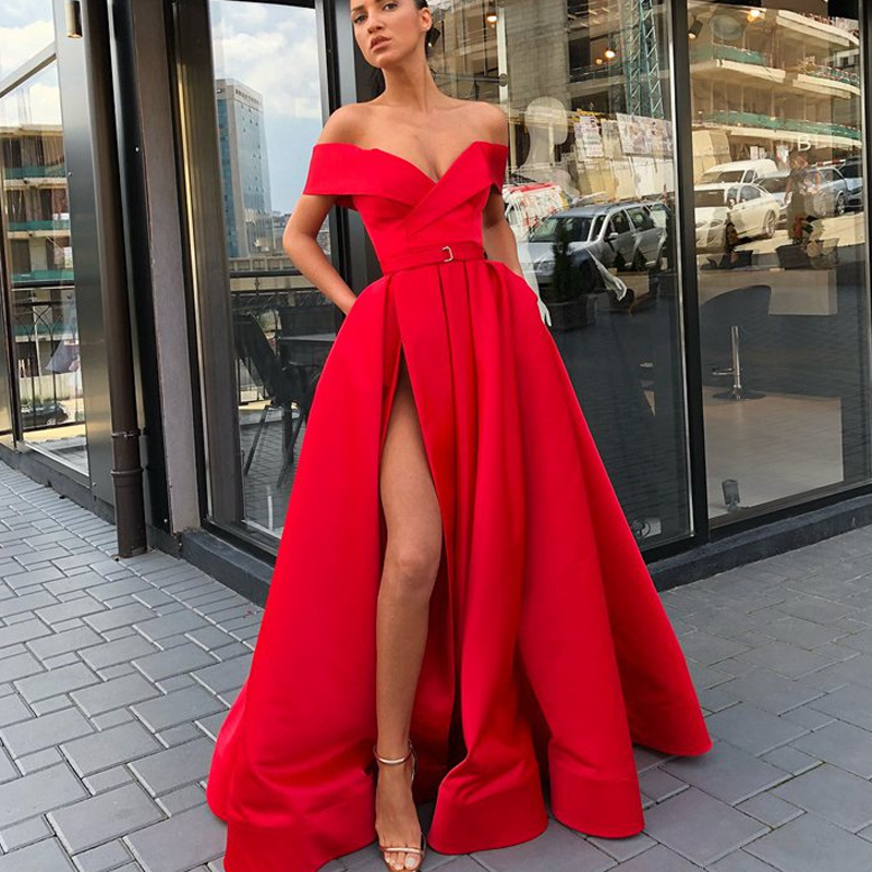 Long Red   Prom     Dress   2019 Sexy High Slit V-neck Off Shoulder Arabic Style Dubai Women Floor Length Formal vestidos de gala