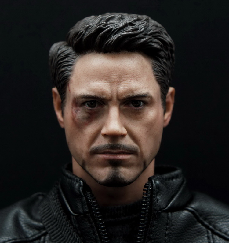1/6 figure accesories Robert Downey Jr. Iron Man Tony Wounded head sculpt carved 12 Action figure doll.not include body;clothes 1 6 scale male head sculpts model toys downey jr iron man 3 captain america civil war tony with neck sets mk45 model collecti f