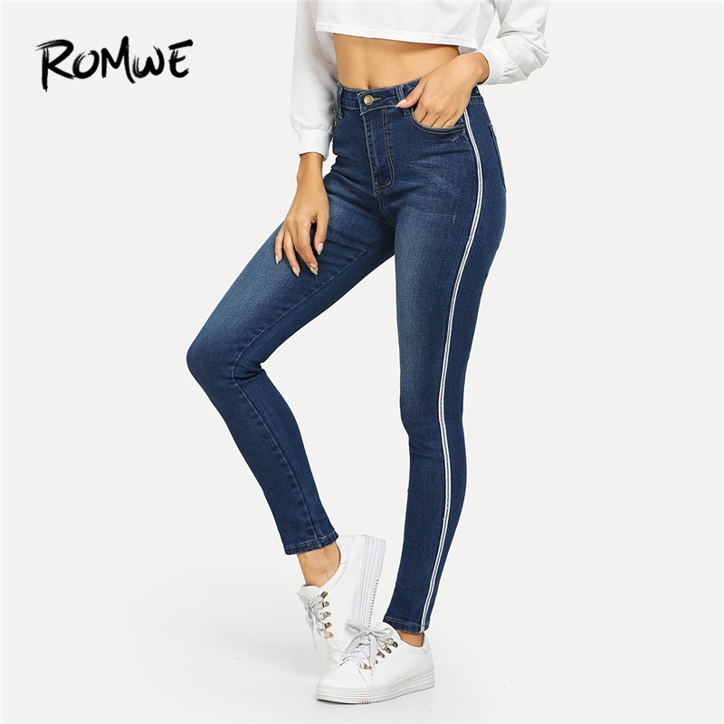 ROMWE Blue Ribbon Side Faded Wash Jeans Woman Casual Skinny Pants Womens Clothing 2019 Autumn Spring Female Zipper Fly Trousers