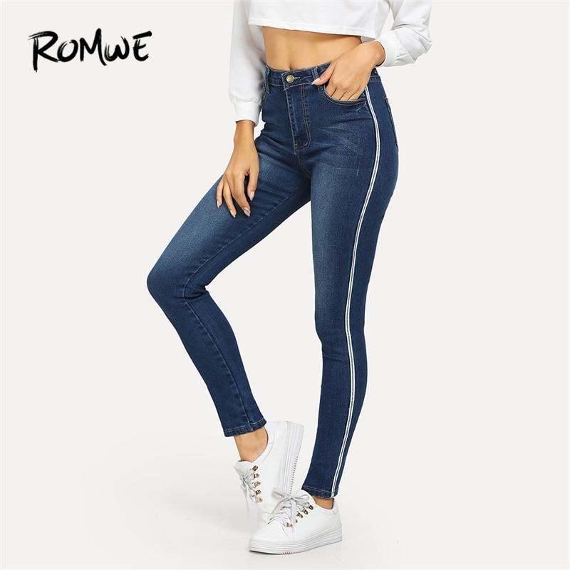 ROMWE Blue Ribbon Side Faded Wash Jeans Woman Casual Skinny Pants Womens Clothin