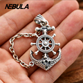 100% Real 925 Sterling Silver Vintage Anchor rudder Pendant Necklace Jewelry For Men Or Wonmen Punk Thai Silver