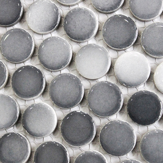 Gray Penny Round Tile Light Grey Grant Dark Mosaics Small Kitchen Backsplash Bathroom
